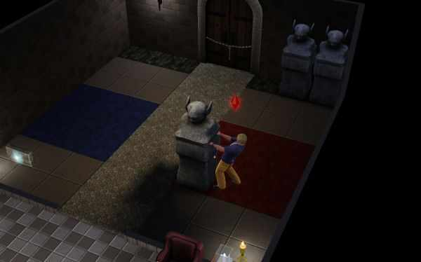 Pushing statues to appropriate spots is one of the many puzzles you'll encounter in the Sims 3 World Adventures' dungeons.