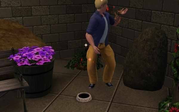 Snakes come out of a hole, scaring a Sim in World Adventures