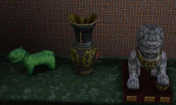 A selection of Chinese relics from Shang Simla, China in the Sims 3 World Adventures. Includes Chinese Vases, Zodiac Animals and Chinese Tomb Symbols