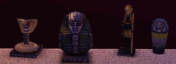 Pieces from the Sims 3 World Adventures Egyptian Relics collection. Includes canopic jars, gold figurines and Sigils from Tombs