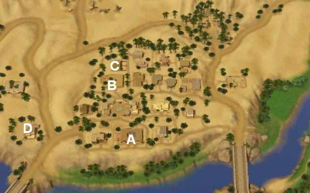 Map showing Ancient Library, Vaughn's Command Center, Trapped at Home in the Sims 3 World Adventures