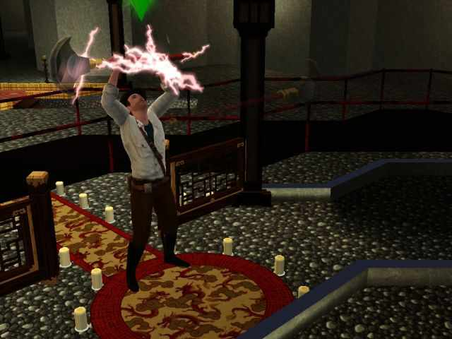 Taking Pangu's Axe from a wall in the Temple of Heaven in the Sims 3