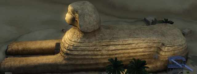 The Great Sphinx in the Sims 3 World Adventures. Showing the side where the second entrance resides.