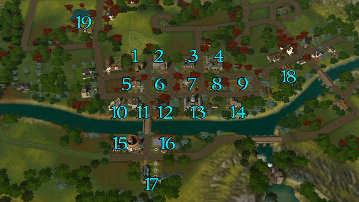 The Sims 3 Dragon Valley World: Map of Downtown Area