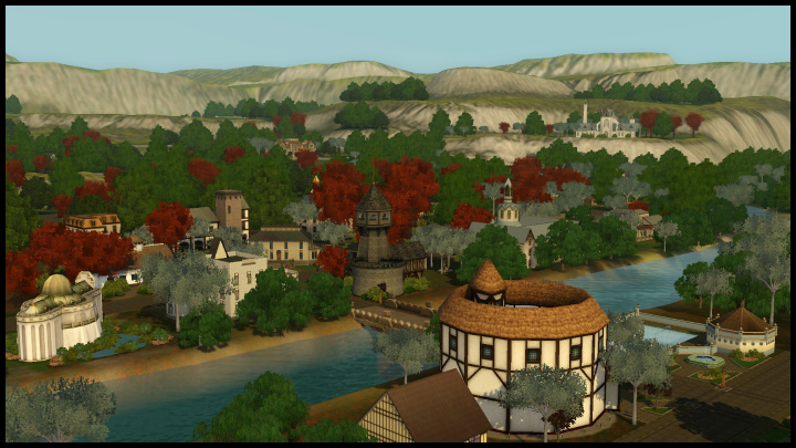 The Sims 3 Dragon Valley World: Whole Town Aerial View