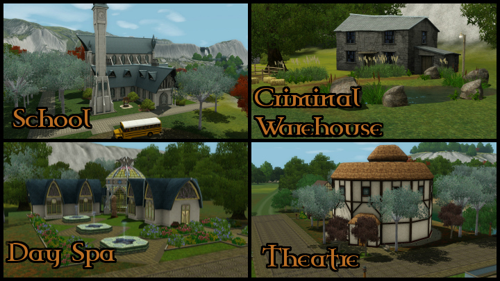 The Sims 3 Dragon Valley World: Town Buildings Collage 1