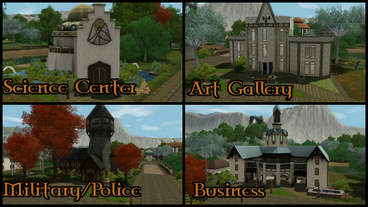The Sims 3 Dragon Valley World: Town Buildings Collage 2