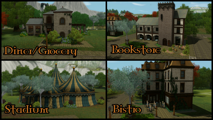 The Sims 3 Dragon Valley World: Town Buildings Collage 3