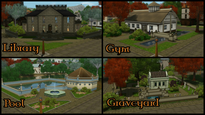 The Sims 3 Dragon Valley World: Town Buildings Collage 4